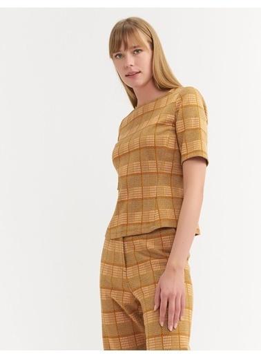 BGN Mimoza - Ekose Desen Örme Bluz Renkli